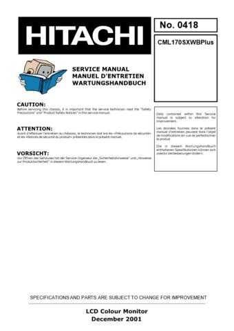 Hitachi CML170SXWBPlus Service Manual by download Mauritron #289009