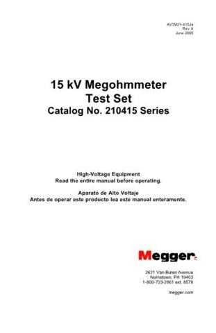 Megger 210802 Operating Guide by download Mauritron #309984