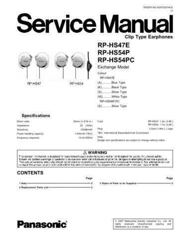 Sharp RP-HS47E Manual by download Mauritron #298500