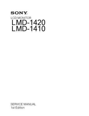 Sony LMD1420 LCD Monitor Service by download Mauritron #312665