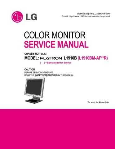 LG L1910B Service Manual by download Mauritron #332141