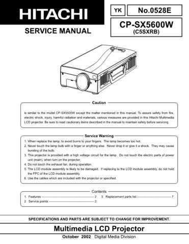 Hitachi CP-S220W Service Manual by download Mauritron #289122