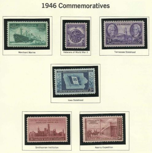 1946: Commemorative Mint Stamps! WWII ERA Veterans WWII & More - 68 yrs old!