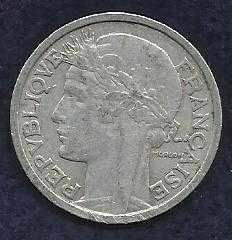FRANCE 2 FRANCS 1943 COIN WWII Currency