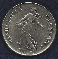 French Coins, Vth Republic, 5 Francs Semeuse , 1991