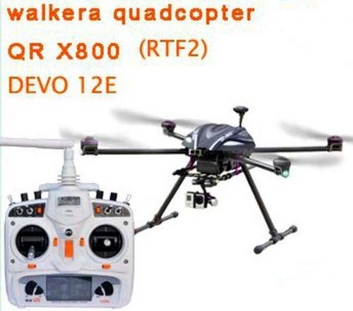 Walkera GPS QR X800 Carbon Fiber DRONE RTF2& DEVO12E & ALUMINUM CASE NEW ARRIVAL