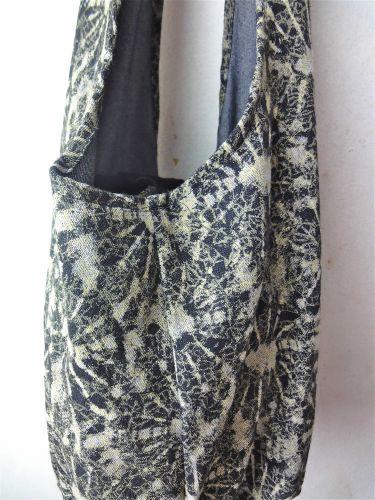 Thai handmade hobo woman cross shoulder bag dyed tie design printed denim black