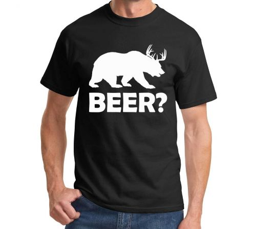 BEER Deer Bear Funny - T Shirt College Alcohol Funny Party Drinking Hunt - New