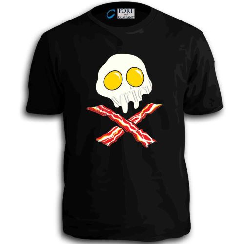 Egg Skull Bacon Crossbones Funny Humor Time T-Shirt MMA UFC Cool Retro Tee Top D59++