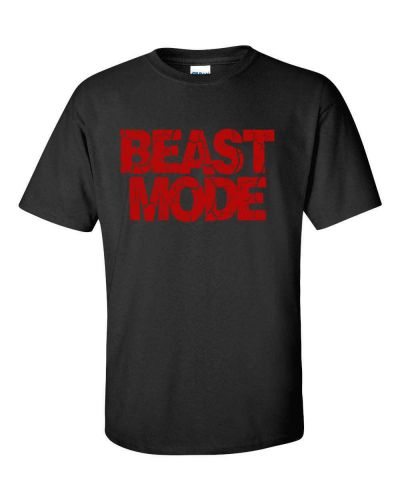 BEAST MODE Gym Work Out Cross Training Body Building RED PRINT Men's Tee Shirt D59