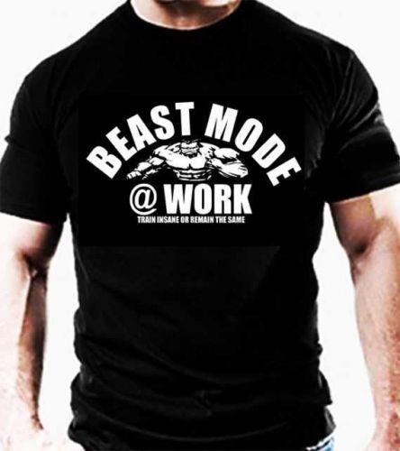 BEAST MODE TEE T shirt TRAINING WORKOUT TOP Casual Gym Wear bodybuilding VEST D59