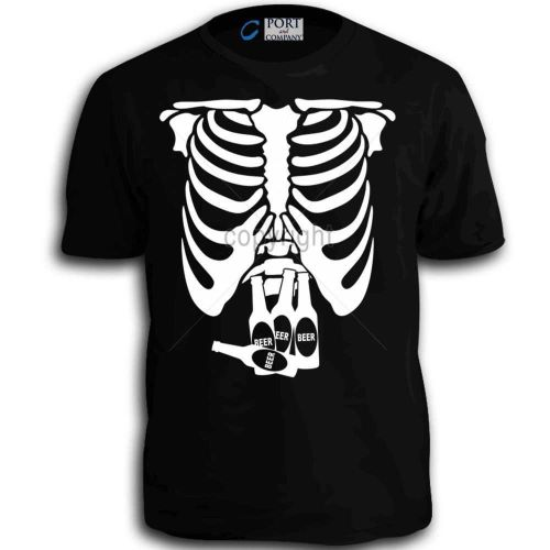 Beer Belly Xray Skeleton Funny Comedy Bottles Adlut T-Shirt Black tee w D59