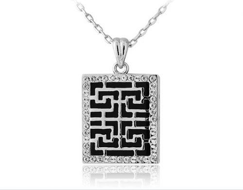 18K RGP white square design necklace