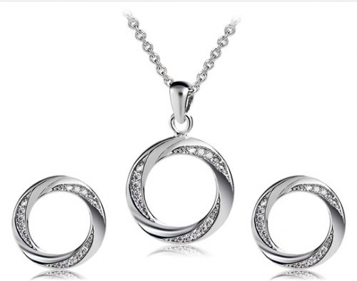 925 sliver plated crystal jewelry set circle necklace with earrings