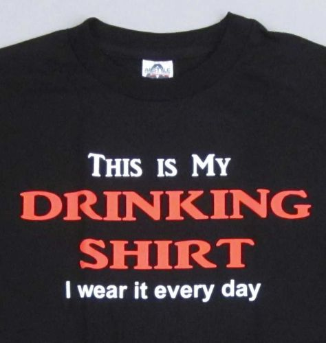 DRINKING SHIRT T-shirt Adult Humor Alcohol Beer Wine Mens Tee S-XL Black New D59