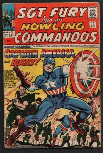 SGT.FURY AND HIS HOWLING COMMANDOS WITH CAPTAIN AMERICA & BUCKY #13 12/64 VG