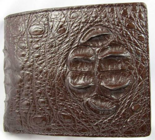 NEW 100% GENUINE CROCODILE HORN BACK LEATHER TRIFOLD WALLET BROWN ACCESSORIES