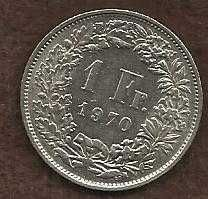 Switzerland 1 Franc 1970 - Standing Helvetia with lance and shield
