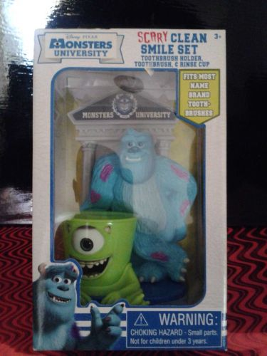 NEW DISNEY PIXAR MONSTERS UNIVERSITY SCARY CLEAN SMILE SET*TOOTHBRUSH SET*SOFT*