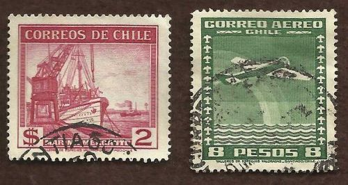 CHILE STAMPS - AIR MAIL 2 PESO ARICA CANCEL- Marina Mercante Two Used Stamps