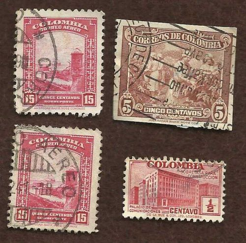 COLUMBIA 1941 AIR POST STAMP - 15 CENTAVOS , 5 CENTAVOS, Half CENTAVO