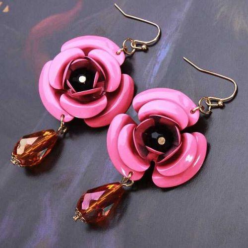 Flower beads earring