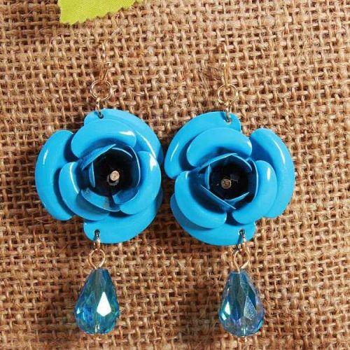 Flower beads earring blue