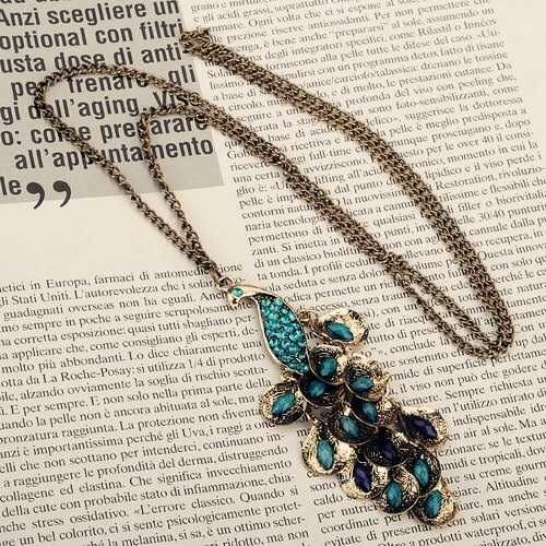 Peacock long necklace