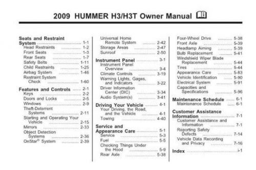 Hummber H3T 2009 Owners Manual Operating Guide by download Mauritron #320624