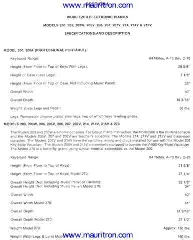Wurlitzer 2xx Series Electronic Piano Service Manual Manual by download Mauritron #31