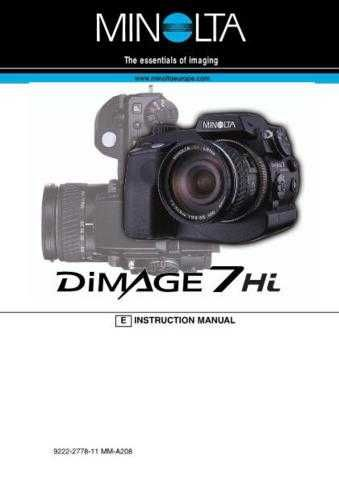 Konica D 7HI E Camera Operating Guide by download Mauritron #320663