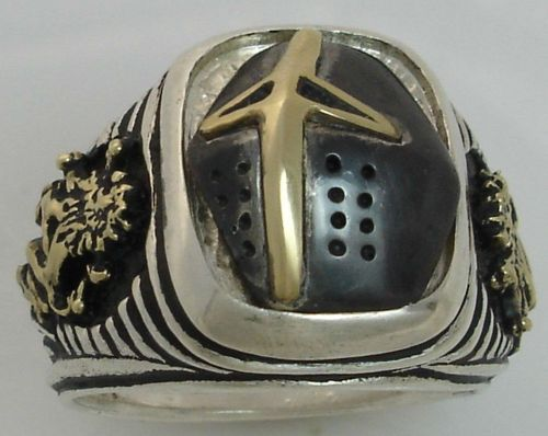 Prince Valiant Black Knight *Gold Lions Sterling Silver signet ring