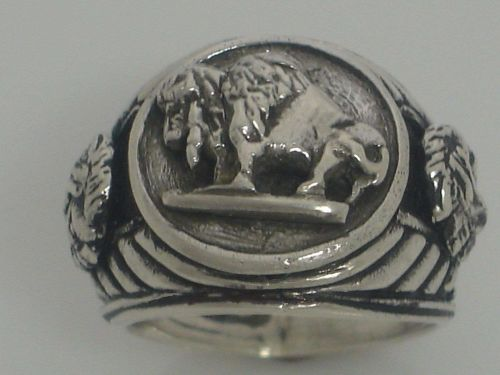 Buffalo Nickel Indian Warrior mens pinky ring sterling silver