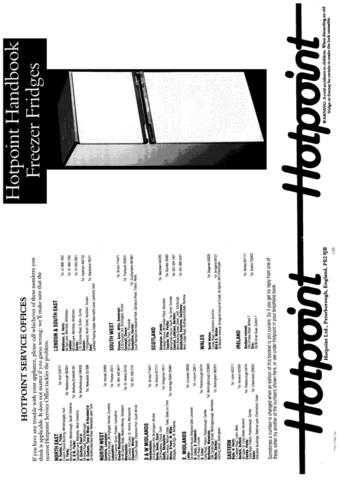 Hotpoint 8632 Refrigeration Operating Guide by download Mauritron #313358
