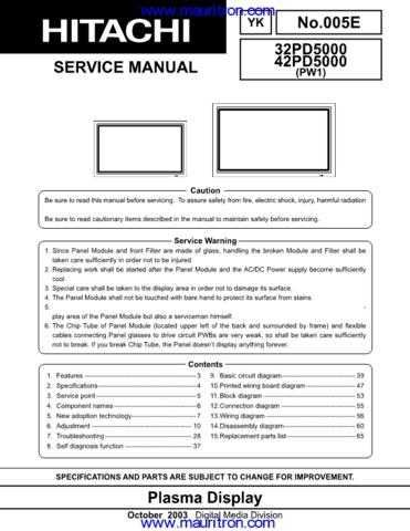 Hitachi 42PD5000 Service Manual by download Mauritron #307351