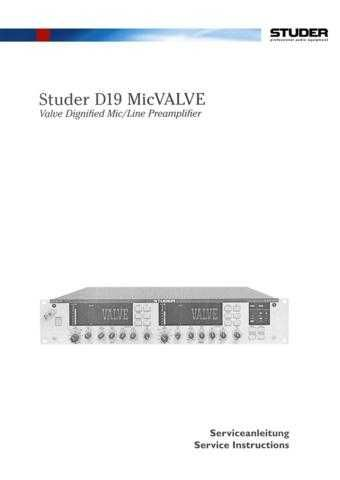 Studer D19_MicVALVE_Service Manual & Operating Guide by download Mauritron #313115