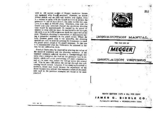 Biddle 21J Operating Guide by download Mauritron #309298