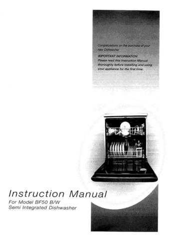 Hotpoint BF-I620 1950416603 Dishwasher Operating Guide by download Mauritron #313498