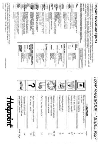 Hotpoint 9527 Laundry Operating Guide by download Mauritron #313412