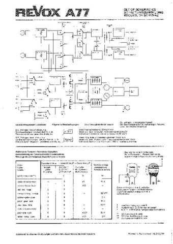 Revox A77 Circuit Diagram Schematics 76-02 by download Mauritron #312201