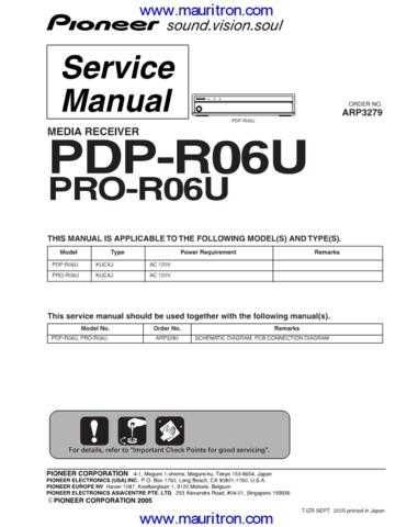 Pioneer PDPR06U by download Mauritron #312579