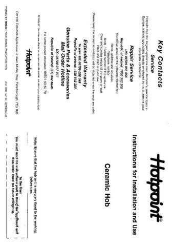 Hotpoint HBBE42 Operating Guide by download Mauritron #312064
