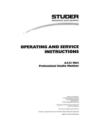 Studer A523_Mk4_Service Manual & Operating Guide by download Mauritron #313098