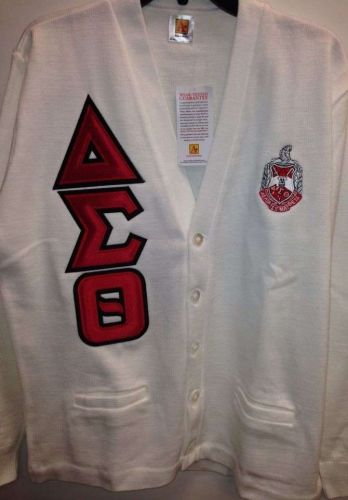 Delta Sigma Theta White Cardigan with Shield and Greek Letters - Size Medium