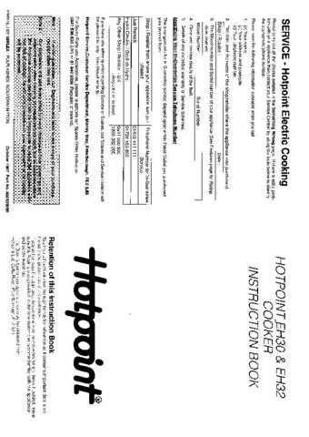 Hotpoint HBEH32(2) Operating Guide by download Mauritron #312099