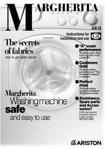 Ariston AIB-16 Washer Operating Guide by download Mauritron #306777