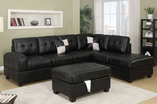 Sofa sectional couch leather sofa with Reversible Chaise 2 pc living room set