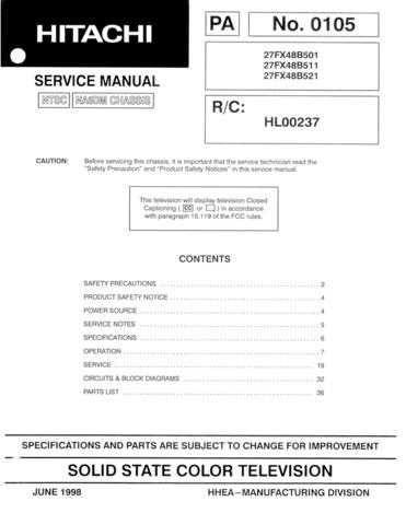 Hitachi 27FX48B501-511-521 Service Manual by download Mauritron #284683