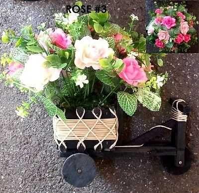 Rose flower silk Artificial Bike Basket