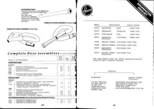 Hoover S4xxx Aquamaster Vacuum Service Manual 1993 Version by download Mauritron #313